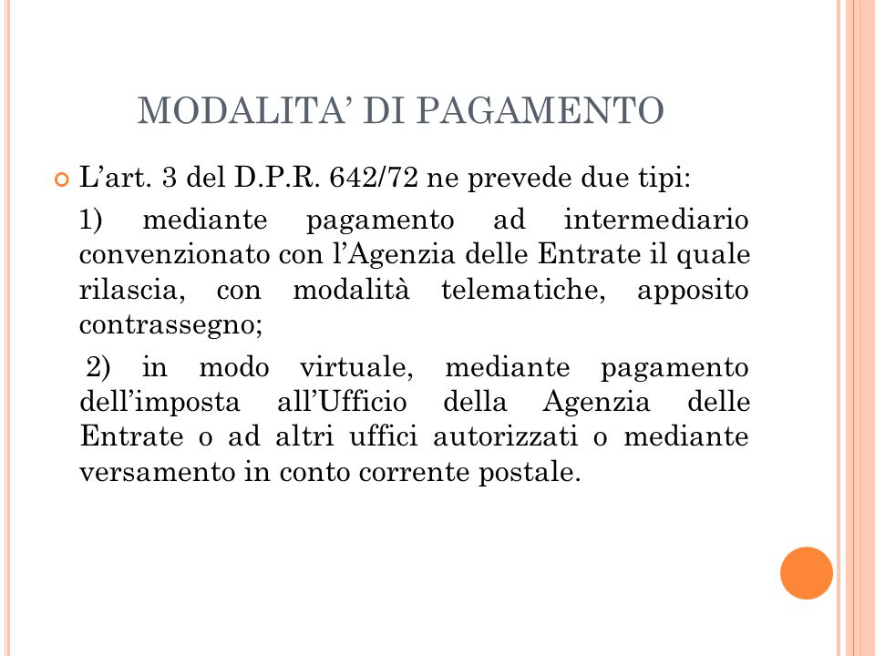 MODALITA' DI PAGAMENTO