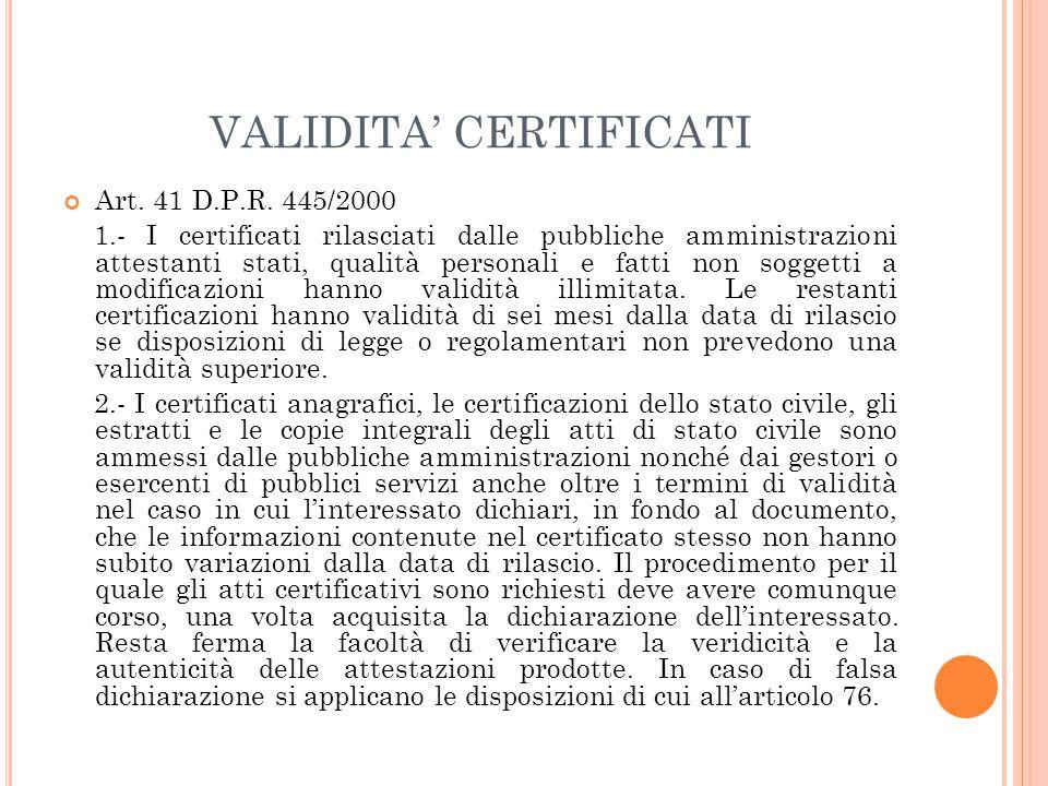VALIDITA' CERTIFICATI