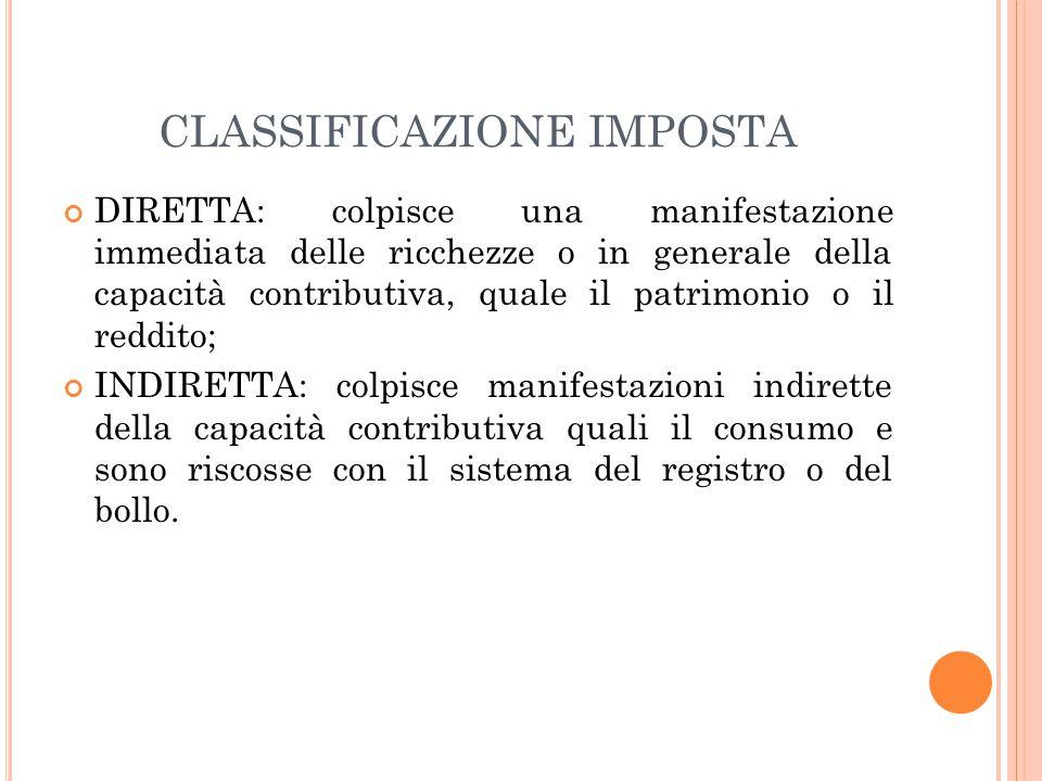 CLASSIFICAZIONE IMPOSTA