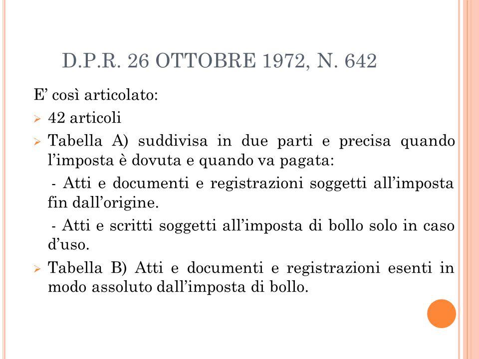 D.P.R. 26 OTTOBRE 1972, N. 642 E' così articolato: 42 articoli