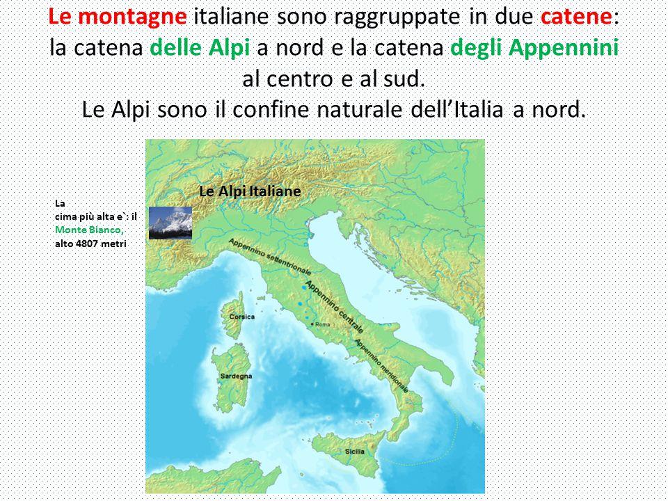Le montagne italiane sono raggruppate in due catene: la catena delle Alpi a nord e la catena degli Appennini al centro e al sud. Le Alpi sono il confine naturale dell'Italia a nord.