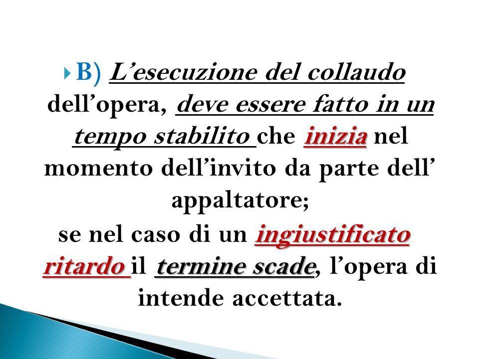 B) L'esecuzione del collaudo dell'opera, deve essere fatto in un tempo stabilito che inizia nel momento dell'invito da parte dell' appaltatore;