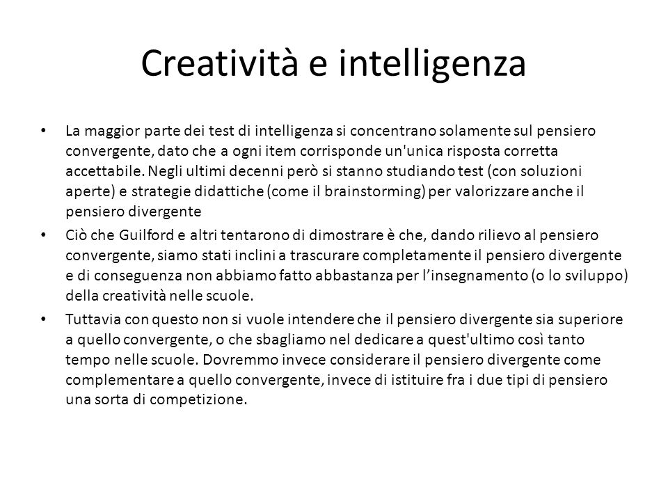 Creatività e intelligenza