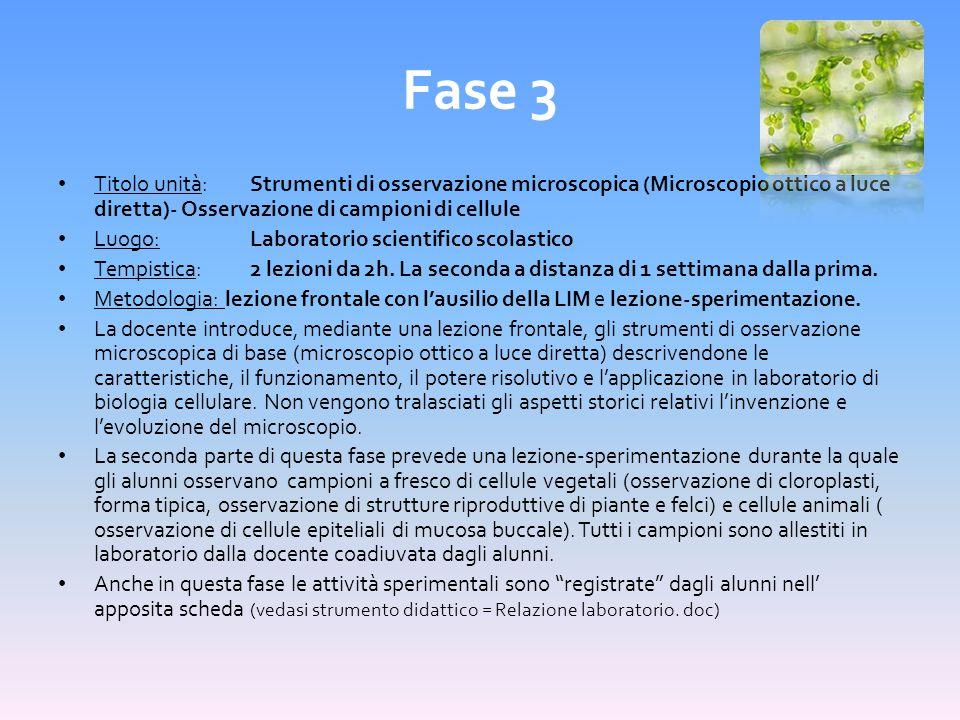 Fase 3 Titolo unità: Strumenti di osservazione microscopica (Microscopio ottico a luce diretta)- Osservazione di campioni di cellule.