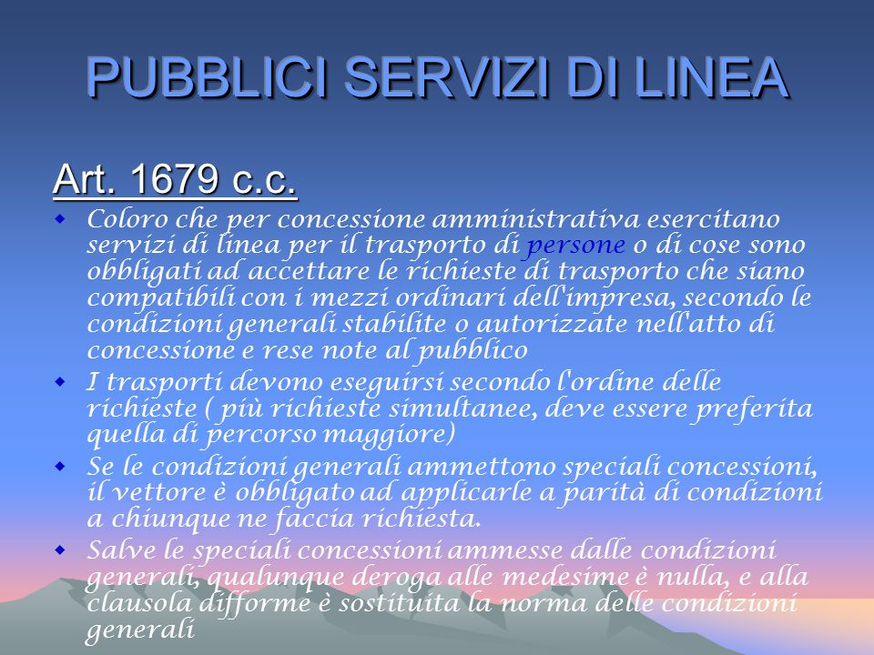 PUBBLICI SERVIZI DI LINEA
