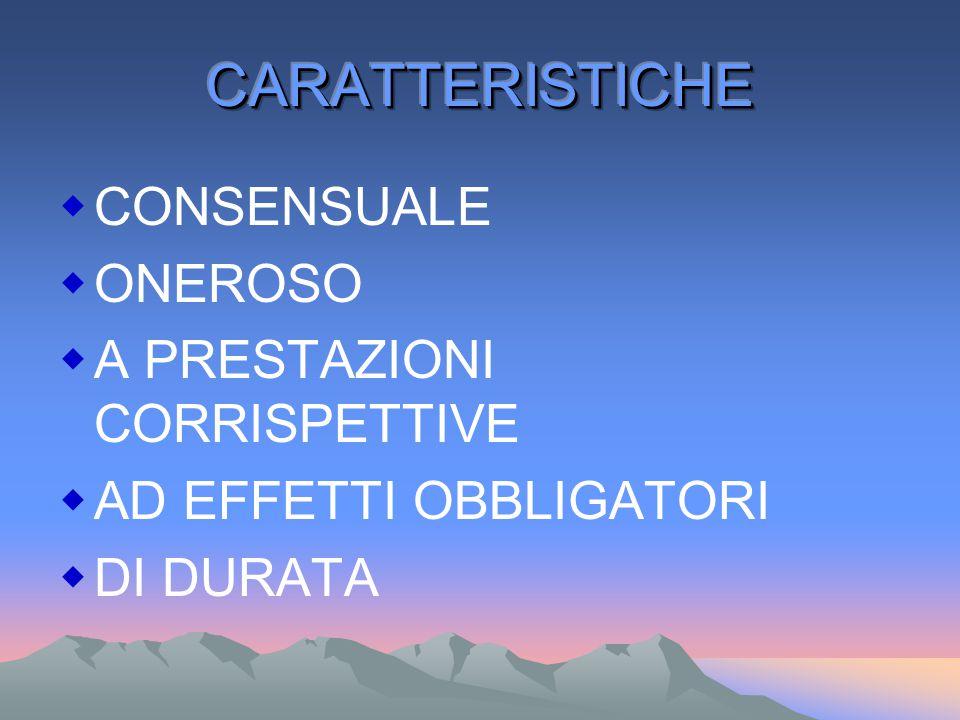 CARATTERISTICHE CONSENSUALE ONEROSO A PRESTAZIONI CORRISPETTIVE