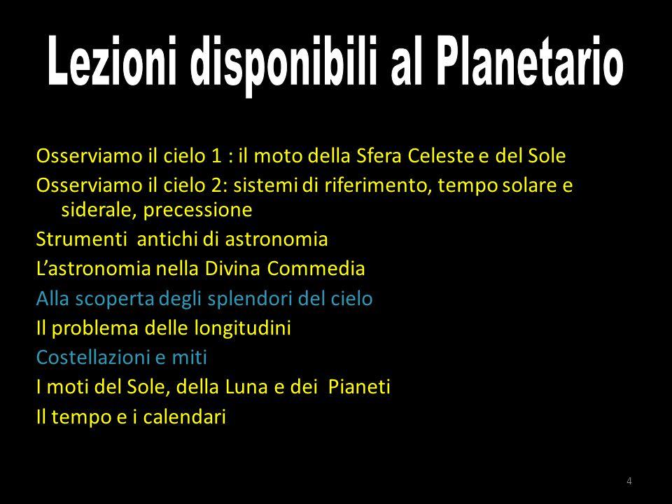 Lezioni disponibili al Planetario