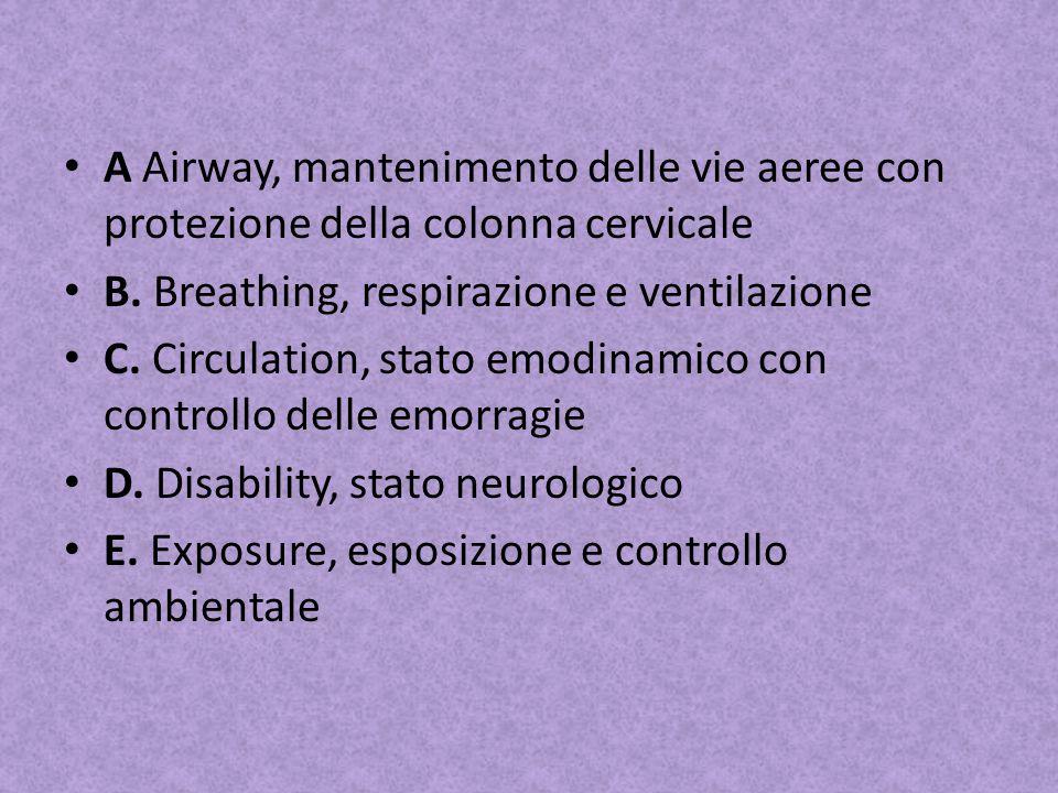 A Airway, mantenimento delle vie aeree con protezione della colonna cervicale