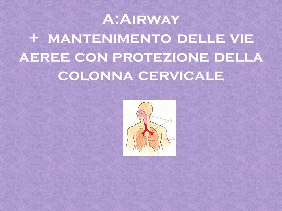 A:Airway + mantenimento delle vie aeree con protezione della colonna cervicale