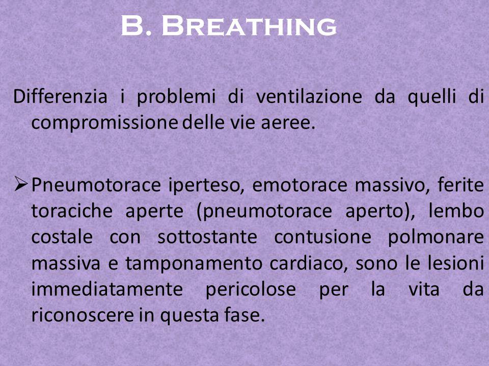 B. Breathing Differenzia i problemi di ventilazione da quelli di compromissione delle vie aeree.