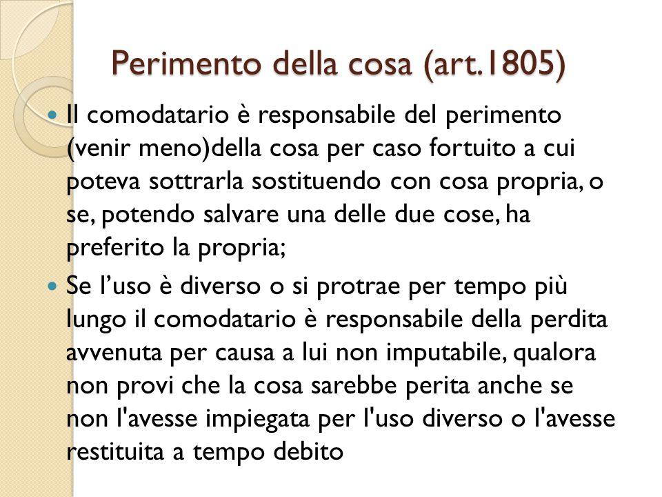 Perimento della cosa (art.1805)