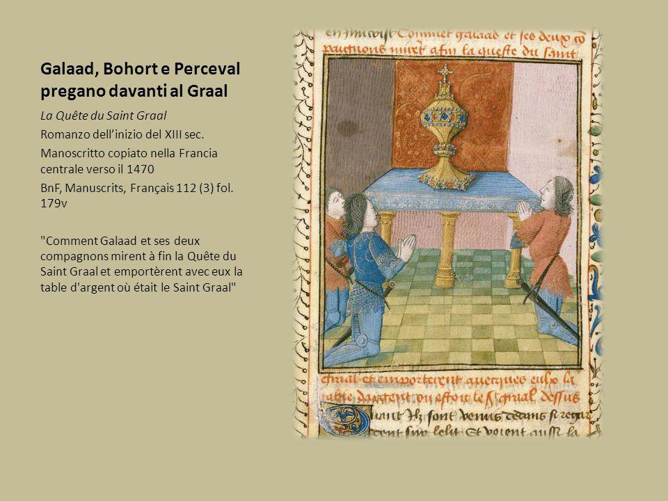 Galaad, Bohort e Perceval pregano davanti al Graal