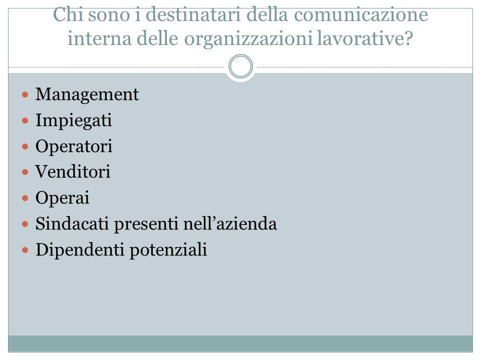Chi sono i destinatari della comunicazione interna delle organizzazioni lavorative