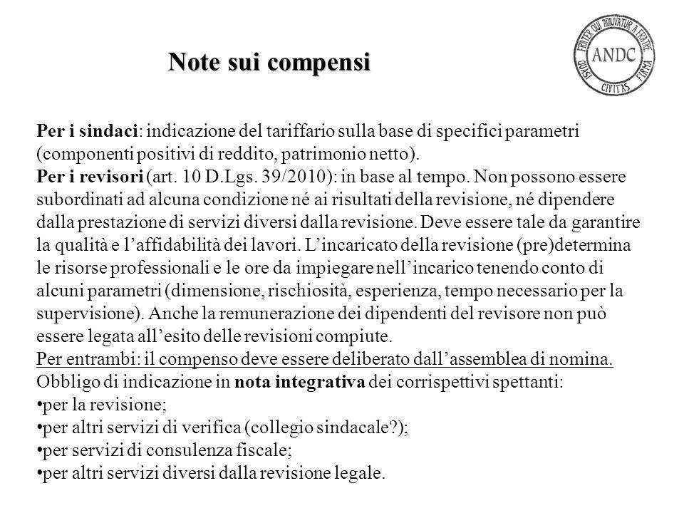 Note sui compensi Per i sindaci: indicazione del tariffario sulla base di specifici parametri (componenti positivi di reddito, patrimonio netto).