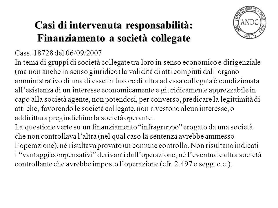 Casi di intervenuta responsabilità: Finanziamento a società collegate