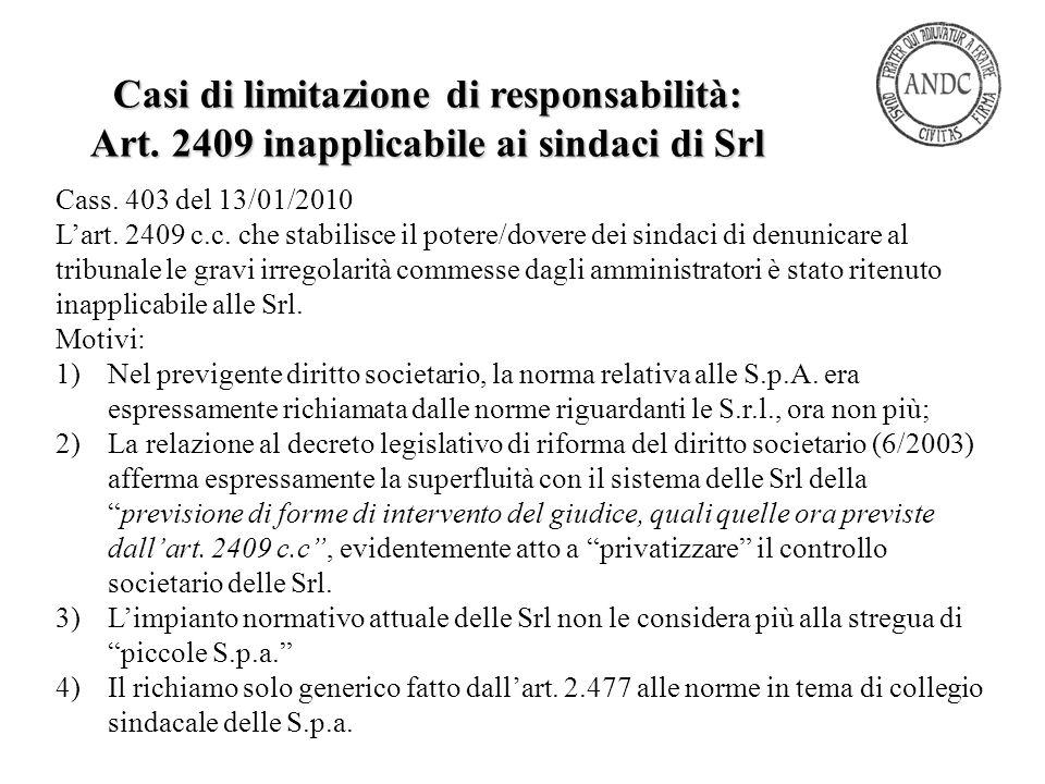 Casi di limitazione di responsabilità:
