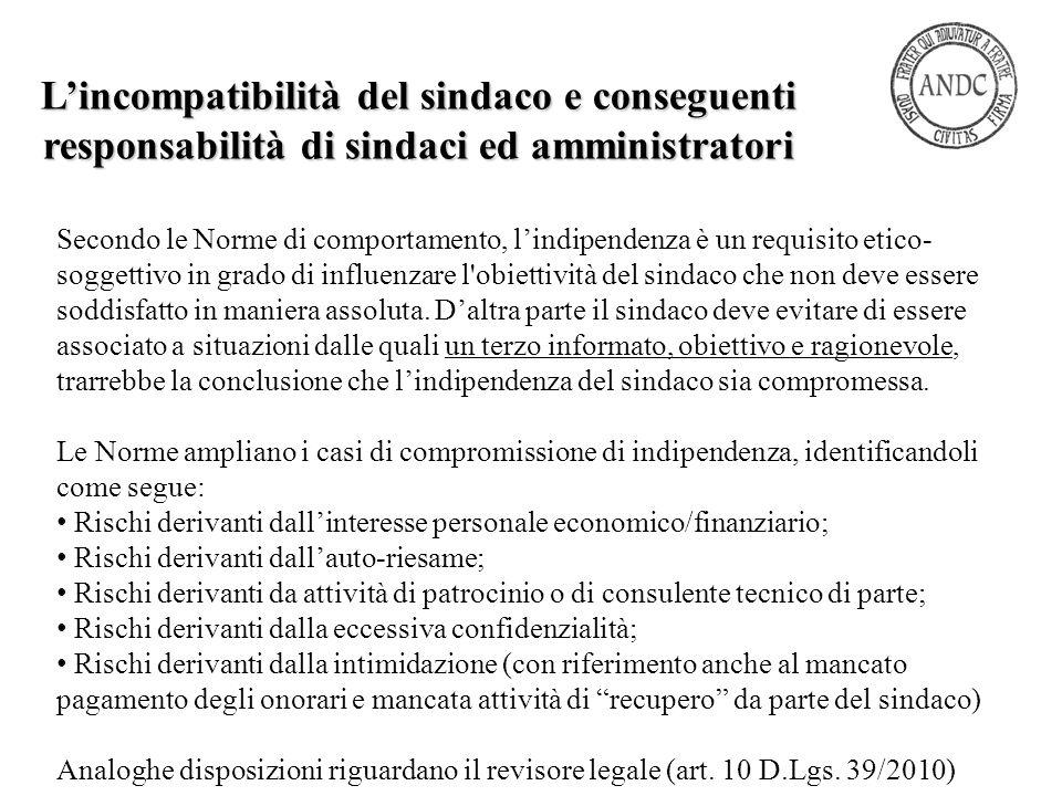 L'incompatibilità del sindaco e conseguenti responsabilità di sindaci ed amministratori