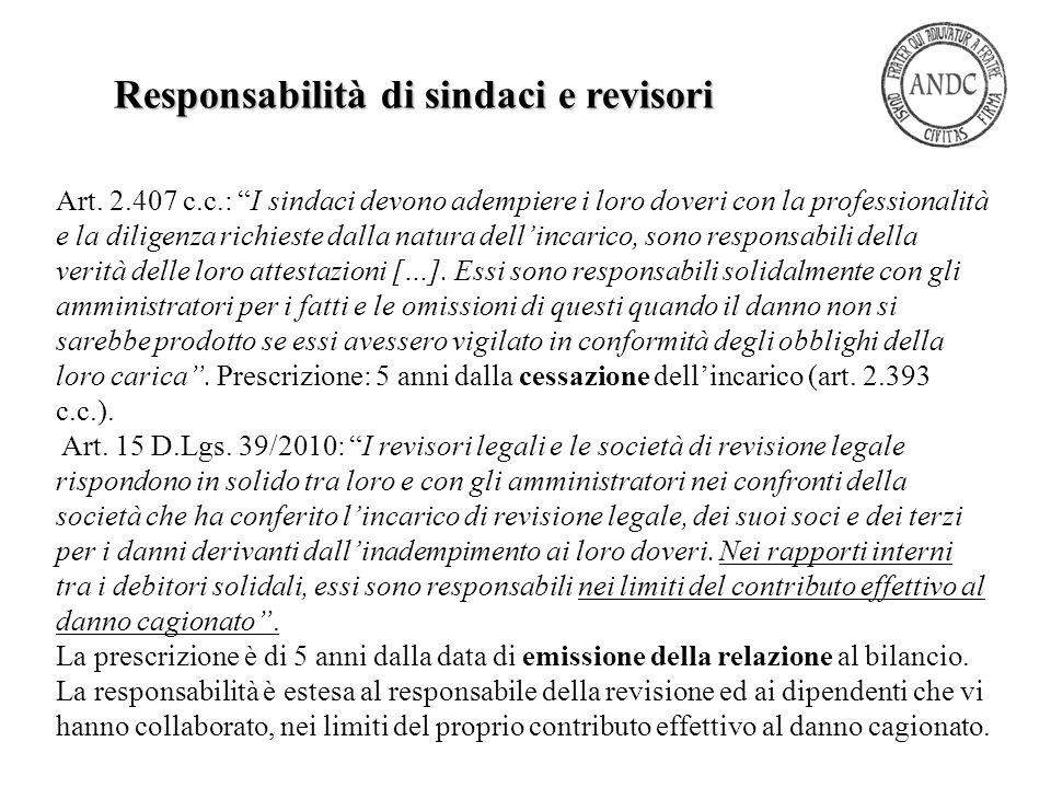 Responsabilità di sindaci e revisori