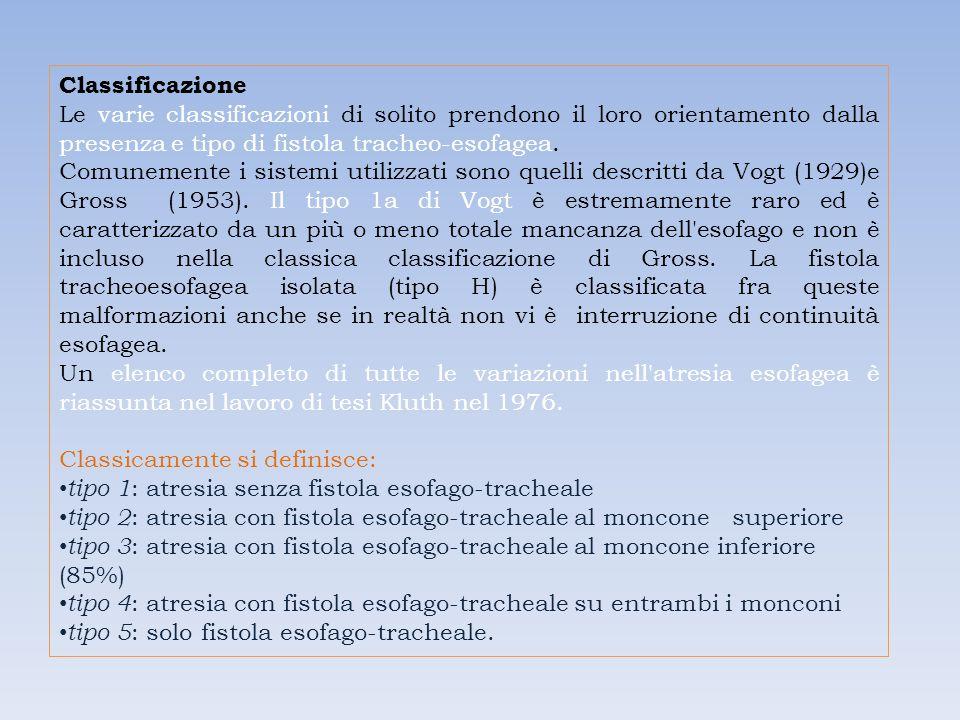 Classificazione Le varie classificazioni di solito prendono il loro orientamento dalla presenza e tipo di fistola tracheo-esofagea.