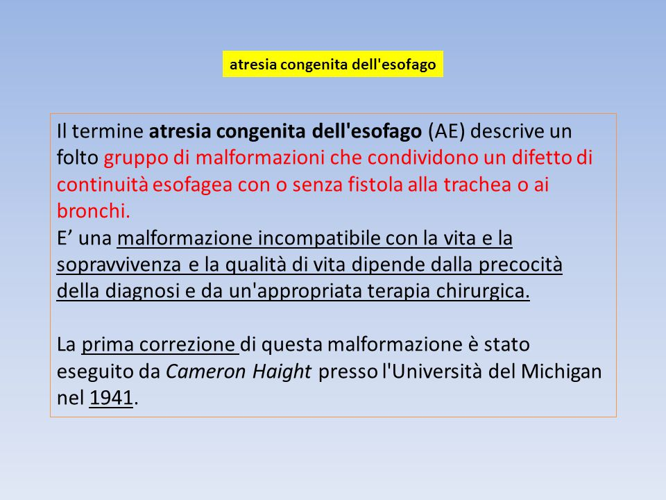 atresia congenita dell esofago
