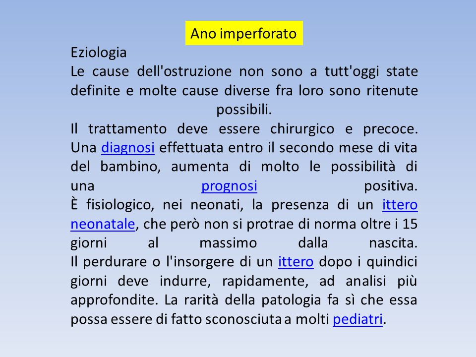 Ano imperforato Eziologia.