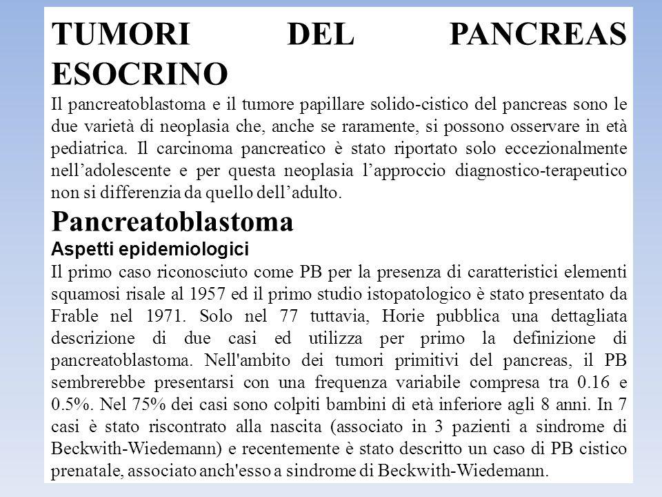 TUMORI DEL PANCREAS ESOCRINO