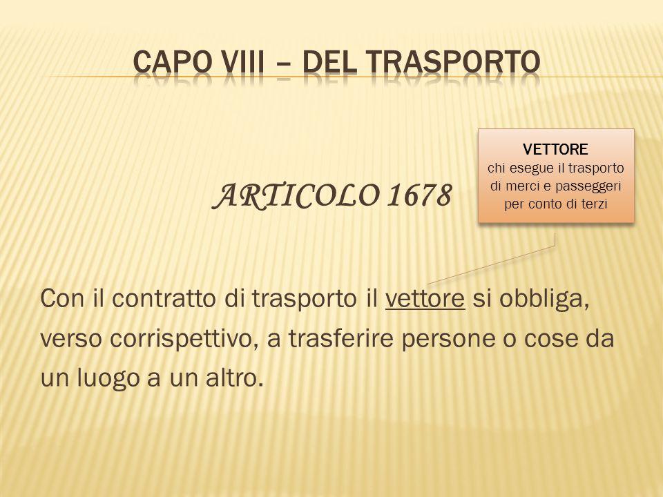 CAPO VIII – DEL TRASPORTO