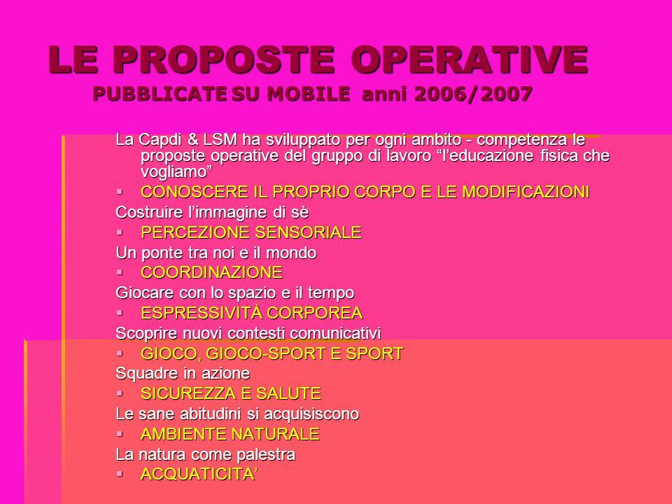 LE PROPOSTE OPERATIVE PUBBLICATE SU MOBILE anni 2006/2007