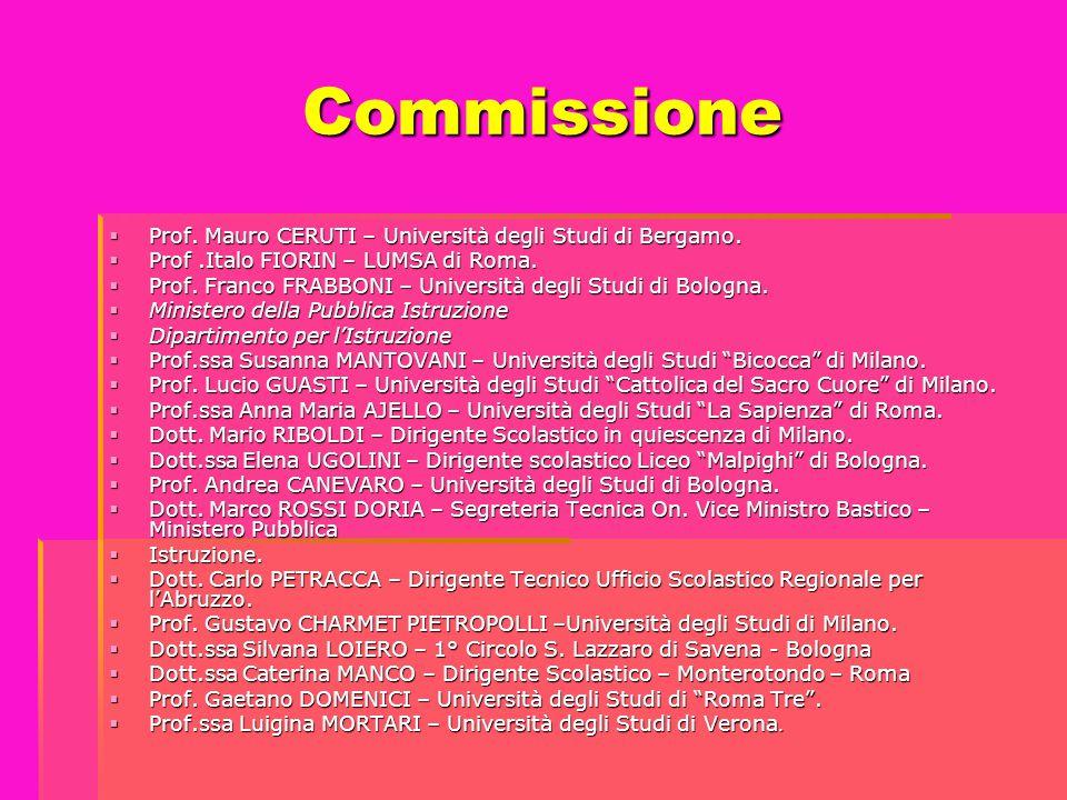 Commissione Prof. Mauro CERUTI – Università degli Studi di Bergamo.