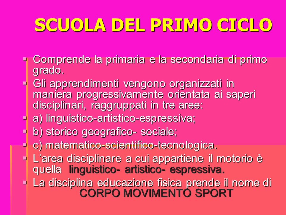 SCUOLA DEL PRIMO CICLO Comprende la primaria e la secondaria di primo grado.