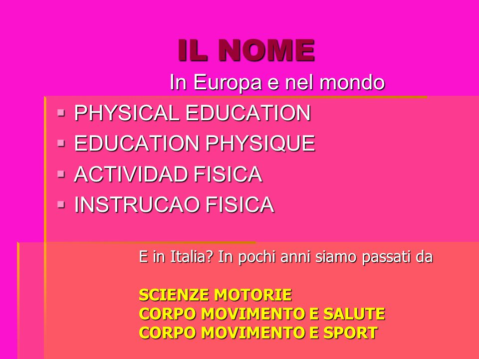 IL NOME In Europa e nel mondo PHYSICAL EDUCATION EDUCATION PHYSIQUE