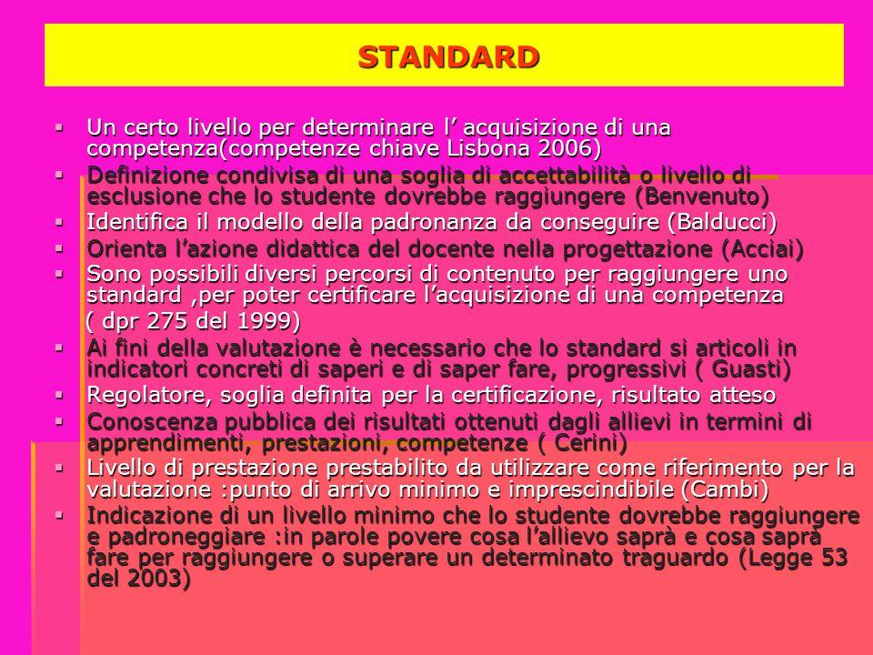 STANDARD Un certo livello per determinare l' acquisizione di una competenza(competenze chiave Lisbona 2006)
