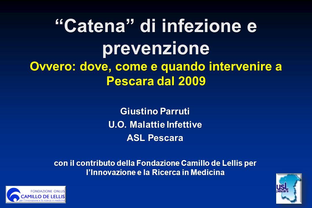 Catena di infezione e prevenzione Ovvero: dove, come e quando intervenire a Pescara dal 2009