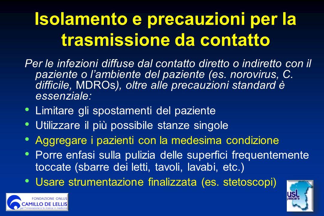 Isolamento e precauzioni per la trasmissione da contatto