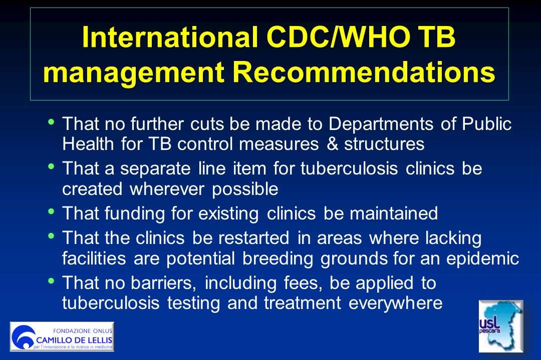 International CDC/WHO TB management Recommendations