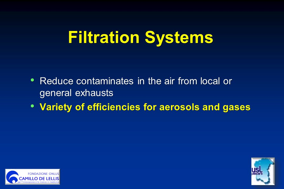 Filtration Systems Reduce contaminates in the air from local or general exhausts.