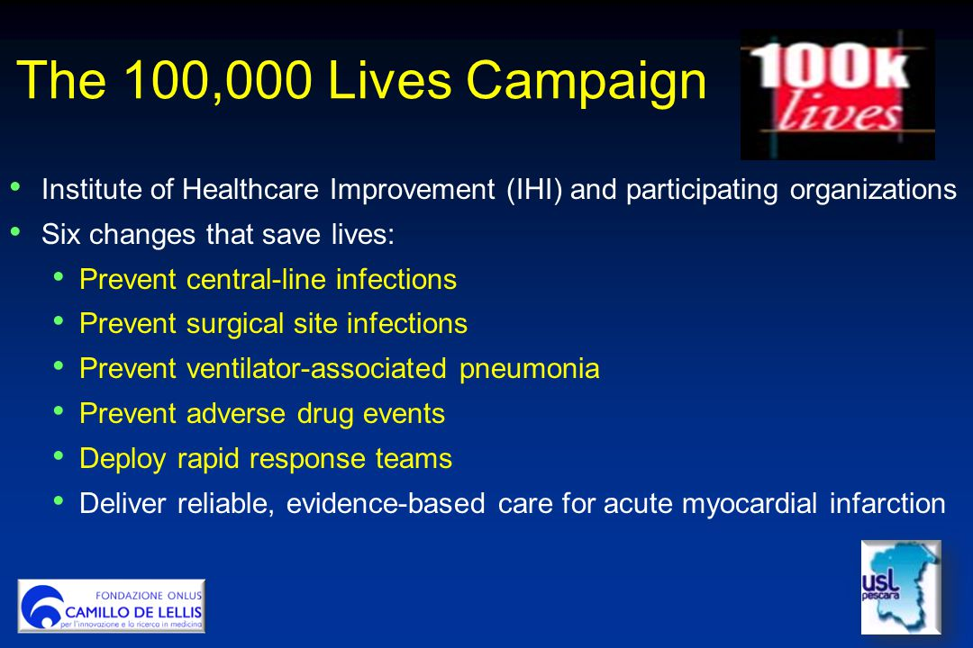 The 100,000 Lives Campaign Institute of Healthcare Improvement (IHI) and participating organizations.