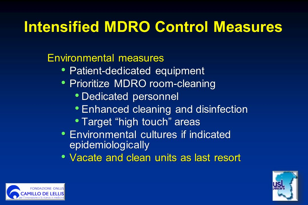 Intensified MDRO Control Measures
