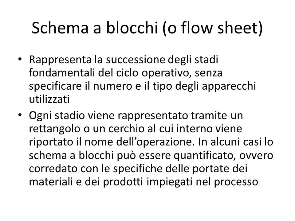 Schema a blocchi (o flow sheet)