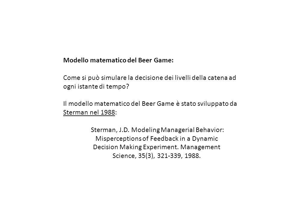 Modello matematico del Beer Game: