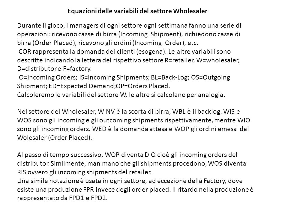Equazioni delle variabili del settore Wholesaler
