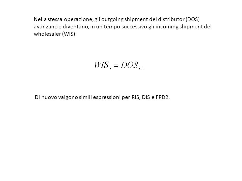 Nella stessa operazione, gli outgoing shipment del distributor (DOS) avanzano e diventano, in un tempo successivo gli incoming shipment del wholesaler (WIS):