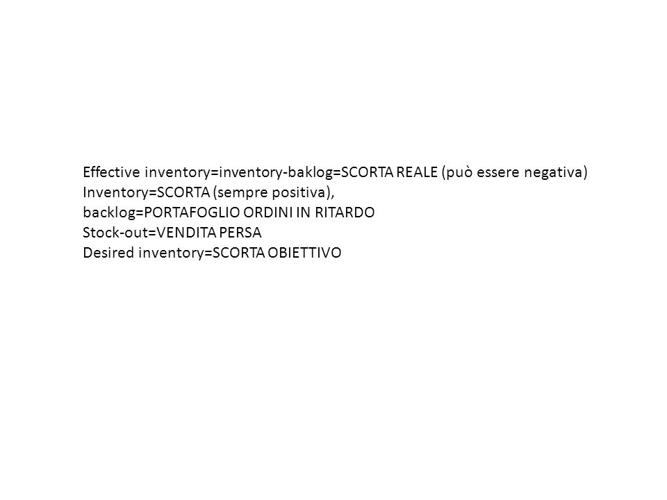 Effective inventory=inventory-baklog=SCORTA REALE (può essere negativa)