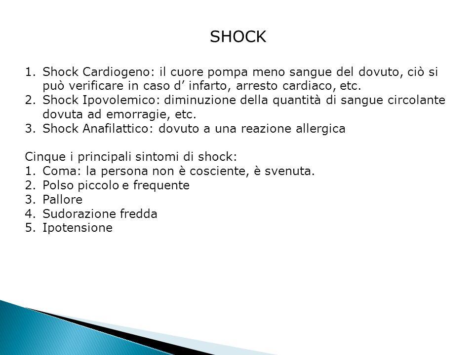 SHOCK Shock Cardiogeno: il cuore pompa meno sangue del dovuto, ciò si può verificare in caso d' infarto, arresto cardiaco, etc.