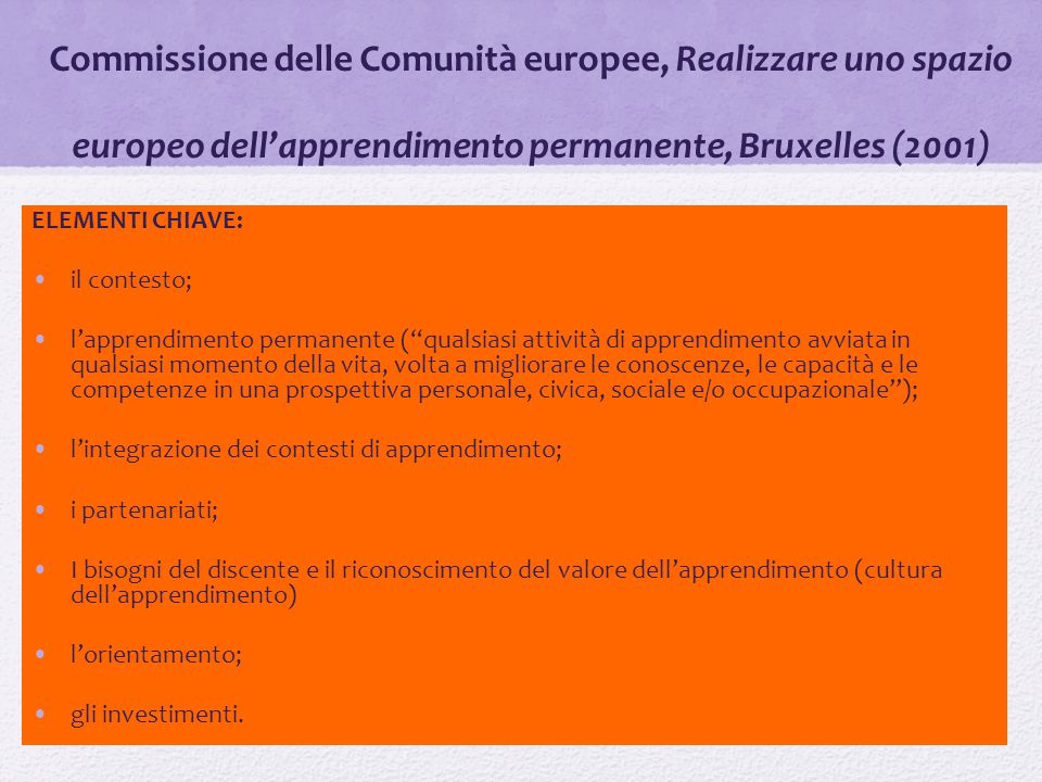 Commissione delle Comunità europee, Realizzare uno spazio europeo dell'apprendimento permanente, Bruxelles (2001)