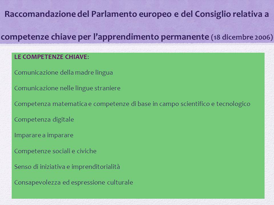 Raccomandazione del Parlamento europeo e del Consiglio relativa a competenze chiave per l'apprendimento permanente (18 dicembre 2006)