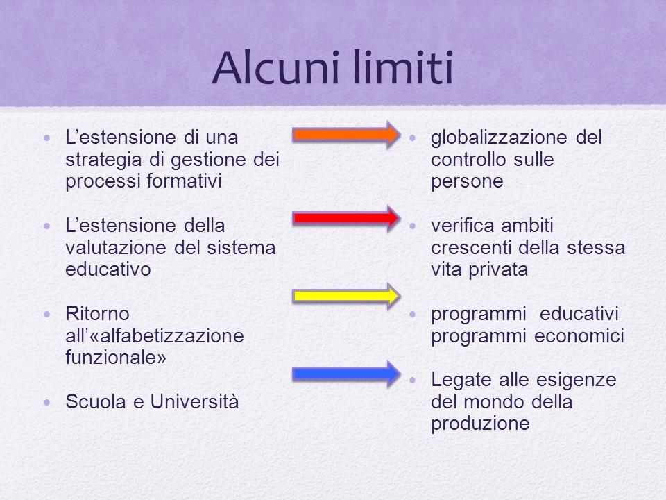 Alcuni limiti L'estensione di una strategia di gestione dei processi formativi. L'estensione della valutazione del sistema educativo.