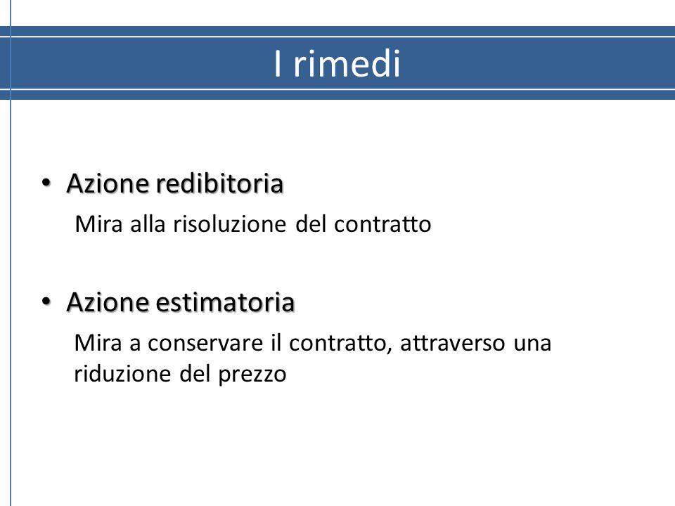 I rimedi Azione redibitoria Azione estimatoria