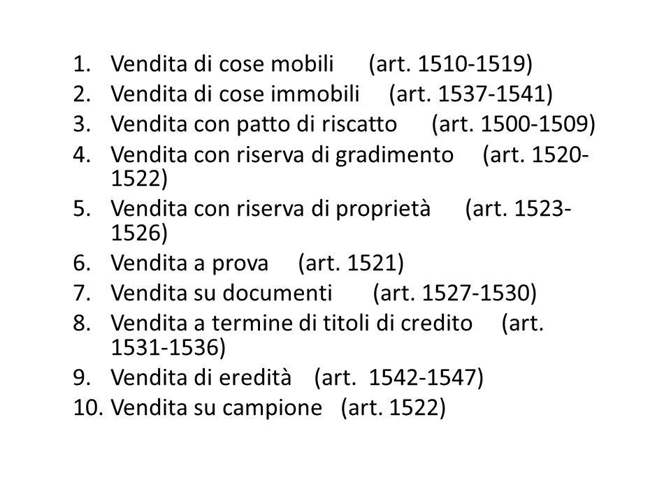 Vendita di cose mobili (art. 1510-1519)