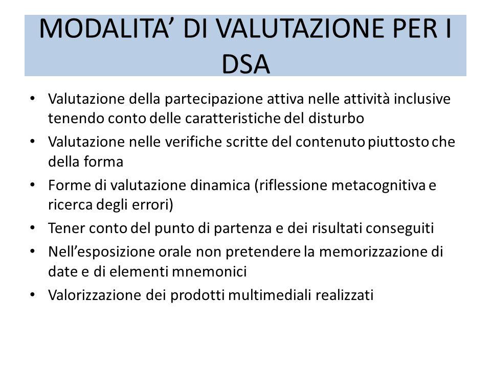 MODALITA' DI VALUTAZIONE PER I DSA